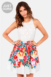 Blooms Away! Ivory Floral Print Dress at Lulus.com!