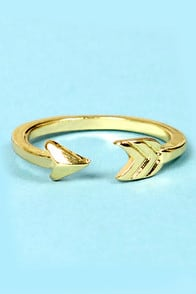 Shoot to Thrill Gold Arrow Knuckle Ring at Lulus.com!