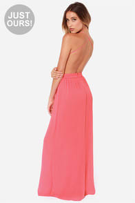 LULUS Exclusive Rooftop Garden Backless Coral Maxi Dress at Lulus.com!