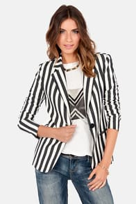 Get in Line Black and Ivory Striped Blazer at Lulus.com!