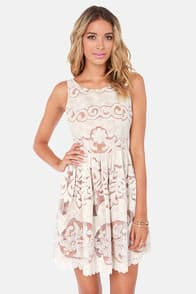 Creme Bru-Lady Tan and Ivory Lace Dress at Lulus.com!