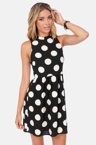 Hit Me With Your Best Dot Black Polka Dot Dress at Lulus.com!