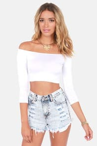 Half the Battle Off-the-Shoulder White Crop Top at Lulus.com!