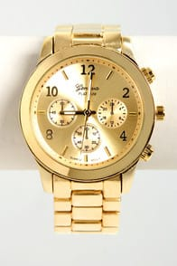 All In the Wrist Yellow Gold Watch at Lulus.com!