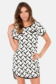 Time For T Black and Ivory Print Shift Dress at Lulus.com!