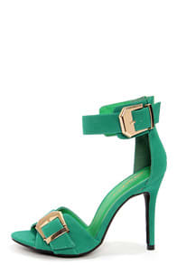 Shoe Republic LA Soojin Aqua and Gold Ankle Strap Heels at Lulus.com!