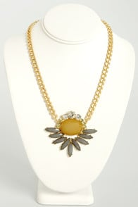 Sunny Side Strut Grey and Yellow Necklace at Lulus.com!