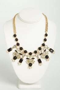 Movie Classics Black and White Rhinestone Necklace at Lulus.com!