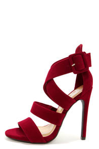 My Delicious Tesia Lipstick Red Crisscrossing Peep Toe Heels at Lulus.com!