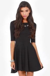Just a Twirl Black Dress at Lulus.com!