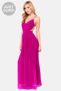LULUS Exclusive Rooftop Garden Backless Magenta Maxi Dress at Lulus.com!