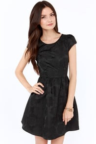 Rose Were the Days Black Jacquard Dress at Lulus.com!