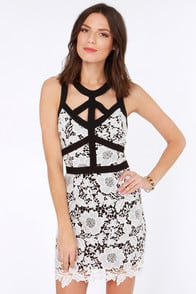 More Flower to You Black and White Lace Dress at Lulus.com!