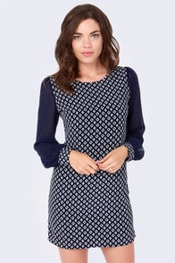 Live a Little Navy Blue Print Shift Dress at Lulus.com!