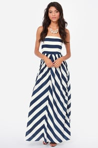 Dreamboat Come True Ivory and Navy Blue Striped Maxi Dress at Lulus.com!