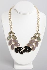 Nifty Shades of Grey Rhinestone Necklace at Lulus.com!