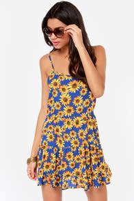 Under the Sunflower Blue Floral Print Babydoll Dress at Lulus.com!