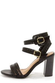 Bamboo Kendria 03 Black Cutout High Heels at Lulus.com!