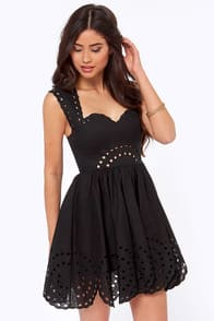 Southern Sweetheart Embroidered Black Dress at Lulus.com!