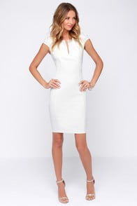 Top Notch Ivory Midi Dress at Lulus.com!