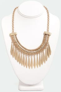 In the Spear Future Gold Statement Necklace at Lulus.com!