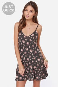 LULUS Exclusive Let It Flow Grey Floral Print Dress at Lulus.com!