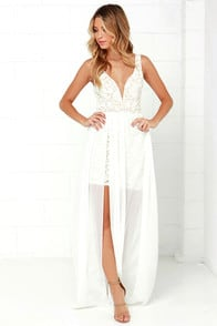 Make Way for Wonderful Off White Lace Maxi Dress at Lulus.com!