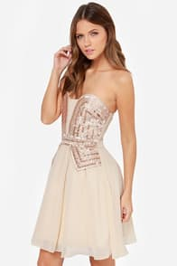 Little Mistress Guarded Heart Strapless Beige Sequin Dress at Lulus.com!