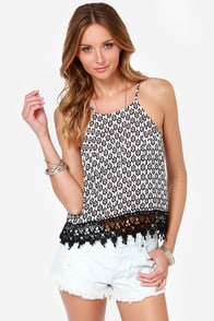 Night After Night Black and Ivory Print Top at Lulus.com!