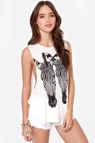Volcom Breezy Ivory Zebra Print Muscle  at Lulus.com!