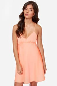 Slip of the Fun Neon Coral Dress at Lulus.com!