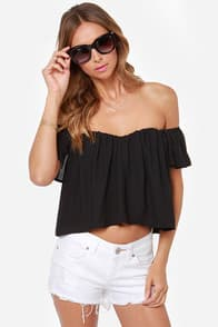 Spice It Up Off-the-Shoulder Black Top at Lulus.com!