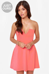 LULUS Exclusive Notch Landing Coral Pink Strapless Dress at Lulus.com!