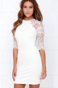 BB Dakota Princeton Ivory Lace Dress at Lulus.com!