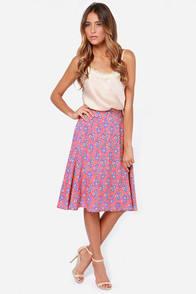 Bed of Posies Coral Floral Print Midi Skirt at Lulus.com!