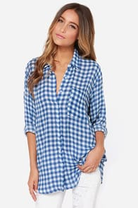 Check Flick Blue Checkered Button-Up Top at Lulus.com!