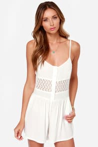 Sugared Trim Ivory Lace Romper at Lulus.com!