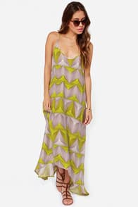 Billabong Day Beyond Lime Green Print Dress  at Lulus.com!