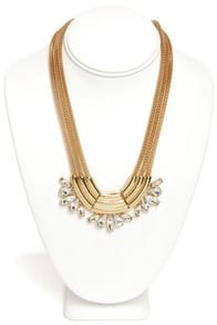 Into the Nile Gold Rhinestone Statement Necklace at Lulus.com!