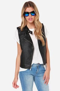 Jack by BB Dakota Reeves Black Vegan Leather Vest at Lulus.com!