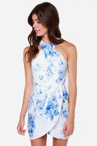 Keepsake Real Love Blue and White Print Dress at Lulus.com!