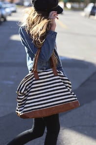 Jet Setter Cream and Black Striped Weekender at Lulus.com!