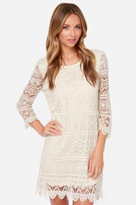 Crochet, S'il Vous Plaît? Cream Lace Dress at Lulus.com!