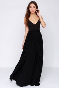 Blooming Prairie Crocheted Black Maxi Dress at Lulus.com!