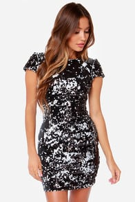 Dress the Population Tabitha Black Sequin Dress at Lulus.com!