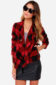 BB Dakota Rosanna Black and Red Plaid Jacket at Lulus.com!