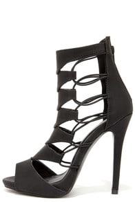Shoe Republic LA Empress Black Nubuck Caged Heels at Lulus.com!