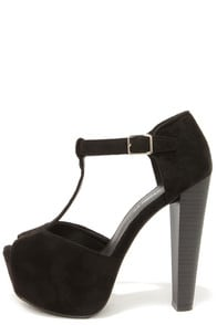 Brina 01W Black T-Strap Peep Toe Platform Heels at Lulus.com!