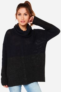 This Means War-mth Navy Blue Color Block Sweater at Lulus.com!
