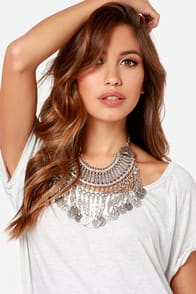 Your Gypsy Silver Statement Necklace at Lulus.com!